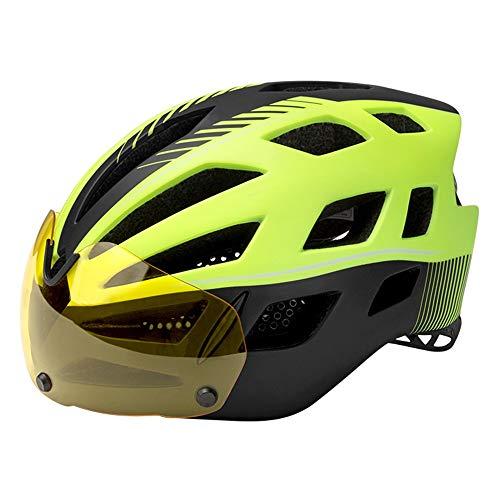 Casco de Ciclismo de Bicicleta Gafas magnéticas Desmontables Sun Visor Mountain and Road Bike Ajustable Adulto 26 Ventilado Cascos de Seguridad Ligeros Ventilados Certificado CE