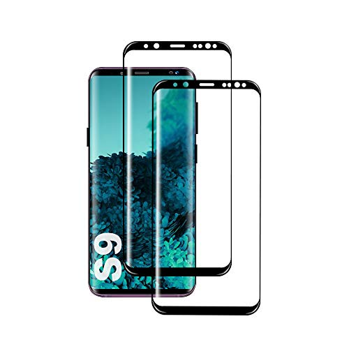 Galaxy S9 Film Protection Ecran Verre Trempé, [2 Pièces] [Full Coverage] [Anti Rayures] [Ultra Claire] [Dureté 9H] Film Protecteur en Verre trempé de Haute qualité pour Samsung Galaxy S9