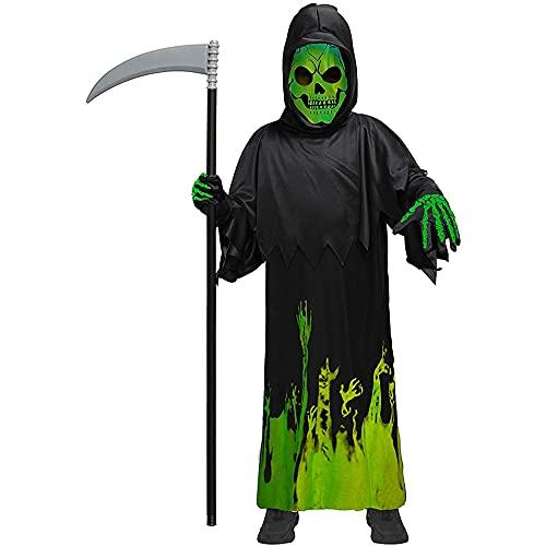 AUUUNN Disfraz de Halloween The Grim Reaper para niños Que Brilla en la Oscuridad, luz Verde, Luminosa, Fiesta de Disfraces