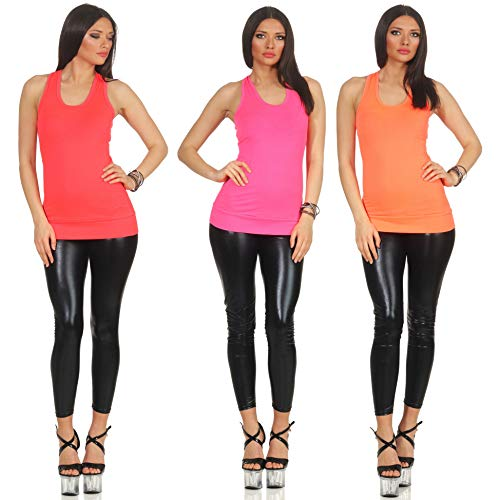 Jela London Damen Basic Longtop Stoff Träger Tank-Top Sommer Sport Racerback, 3er Set Pink & Orange & Apricot 34 36 38