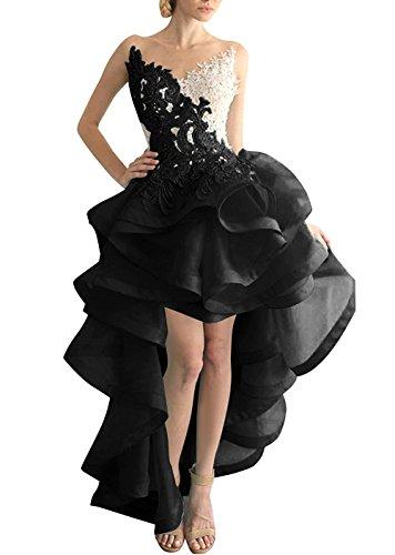 Beyonddress Damen Hi-Lo Abendkleider Asymmetrisch Ballkleid Organza Partykleid Heimkehr Kleider (Schwarz,42)