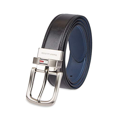 Tommy Hilfiger Reversible Leather Belt - Casual for Mens Jeans with Double Sided Strap and Silver Buckle, black/navy, 34
