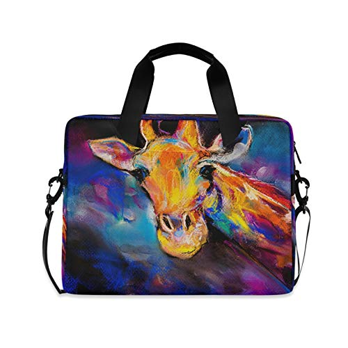 Yulife Watercolor Animal Giraffe Laptop Bag Sleeve Case for Women Men Briefcase Tablet Messenger Shoulder Bag with Strap Notebook Computer Case 14 15.6 16 Inch for Kids Girls Business