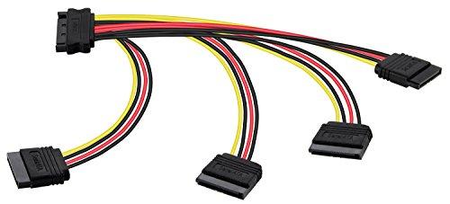 Poppstar - 1x 20cm Adaptador SATA Cable de alimentación (4 vías) (1x Conector Recto en 4X Conector), adaptadores de Corriente para HDD, SSD, Disco Duro, Placa Base, Caja de la PC de modding