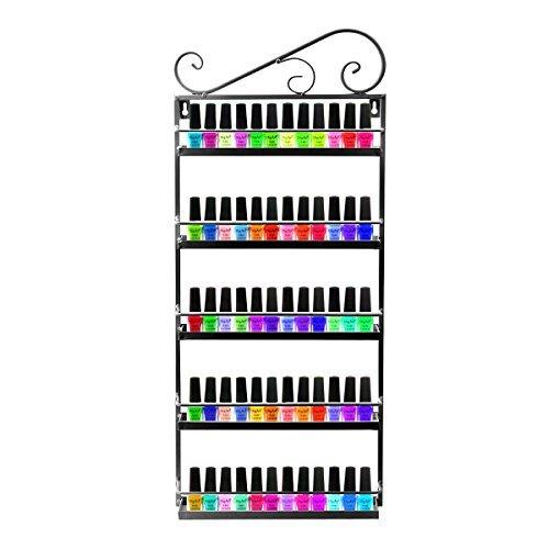 Schwarz Metall Nagellack Wand Rack Organizer für 50Flaschen ätherischen Ölen montieren 5Etagen Organizer Display Rack