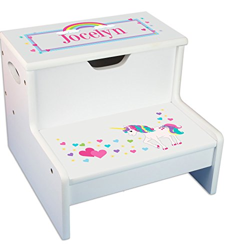 Personalized Unicorn White Childrens Step Stool with Storage