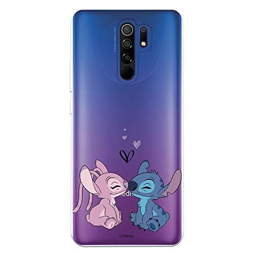 Funda para Xiaomi Redmi 9 Oficial de Lilo & Stitch Angel & Stitch Beso para Proteger tu móvil. Carcasa para Xiaomi de Silicona Flexible con Licencia Oficial de Disney.
