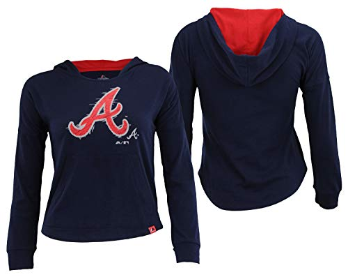 OuterStuff MLB Youth Girls Atlanta Braves The Closer Pullover Hoodie, X-Large