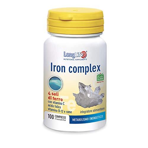 Iron Complex LongLife | Integratore 4 Sali di ferro con vitamina C e B12, acido folico e rame | 100 tavolette | Funzione immunitaria | Doping Free