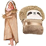 Sloth Wearable Hooded Blanket for Adults - Super Soft Warm Cozy Plush Flannel Fleece & Sherpa Hoodie Throw Cloak Wrap - Sloth Gifts for Women Adults and Kids