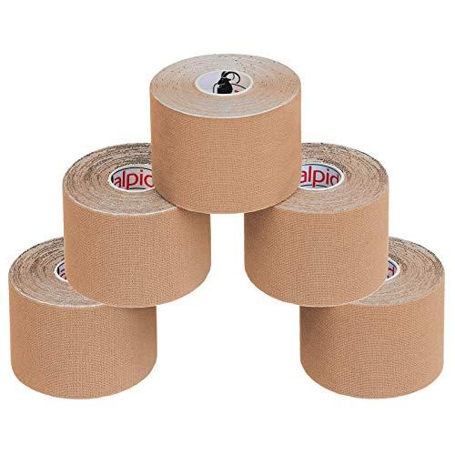 ALPIDEX 5 Rollen Kinesiologie Tape 5 m x 5,0 cm E-Book Anwendungsbroschüre Elastisches Tape Set, Farbe:hautfarben
