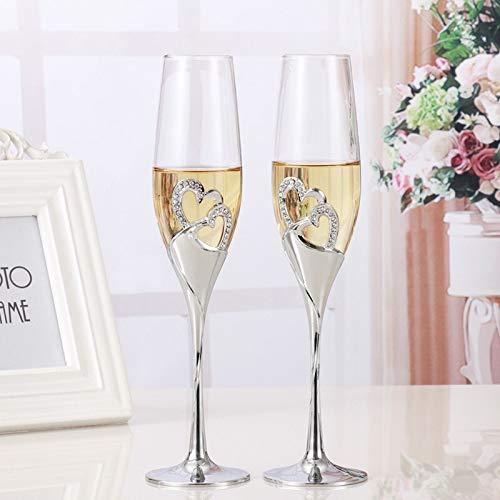 HUANGRONG Jarra de Cerveza 2 PCS/Set Crystal Wedding tostando Las Flautas de champán Vasos de Bebida del Partido de la Copa de Vino Matrimonio decoración Copas for Las Partes Caja de Regalo