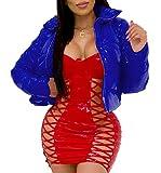 DYJXIGO Womens High Light Pulffer Trapuntato Inverno Cappotto Invernale Donna Wetlook Vinyl PVC Kids Girls PU Parka Bubble Jacket Blue-XL