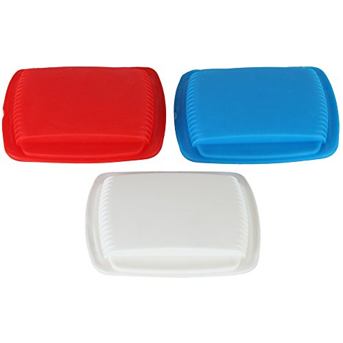 HomeX Portable Squeeze Open Pill Pouch Set of 3 Colors Red White and Blue