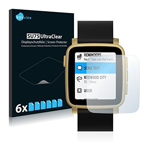 Savvies 6X Schutzfolie kompatibel mit Pebble Time 2 Bildschirmschutz-Folie Ultra-transparent