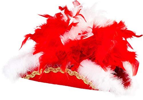 narrenkiste O28082-26B-57-58 rot mit Goldborte und rot-weißer Boa Kinder-Damen-Herren Funkenhut Gr.57-58