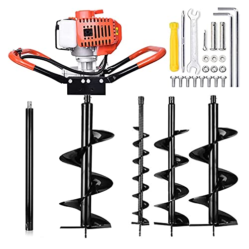 52cc Auger Post Hole Digger, 1.8KW 2 Stroke Post Hole Auger Gas Powered with 3 Replacement Drill Bits(5