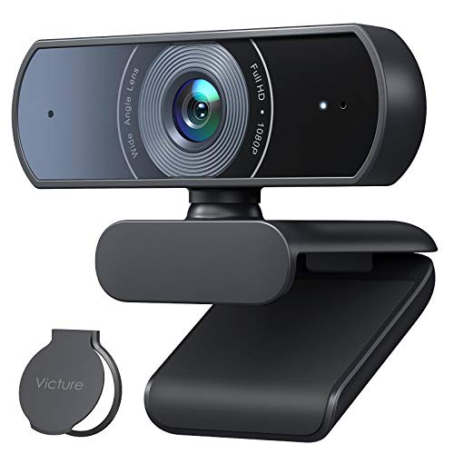 Victure 1080P Webcam with Privacy Cover, Dual Stereo Microphones PC Camera, Full HD Video Camera for Computers PC Laptop Desktop, USB Plug and Play, Conference Study Video Calling