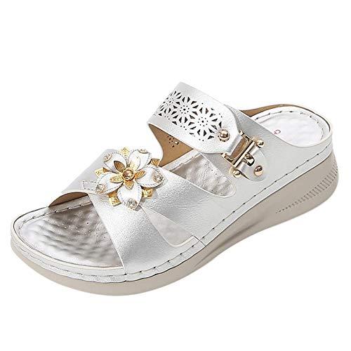 MQJ Mujeres Deslizantes Sandalias de Verano Slips On Open Toe Wedge Heels Beach Zapatos de Playa Bohemian Style Comfort Zapatos Planos Casual Flip Flaks Vacaciones Daily Wear Slippers,Plata,4.5 Reino