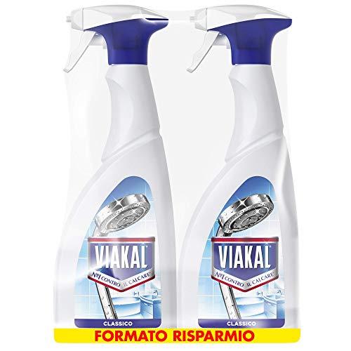 Viakal Anticalcare Detersivo Spray, 2 bottiglie da 700 ml, Classico, Rimuove Sporco e Batteri, Azione Totale Sul Calcare, Brillantezza Duratura, Adatto alle Superfici del Bagno, Maxi Formato
