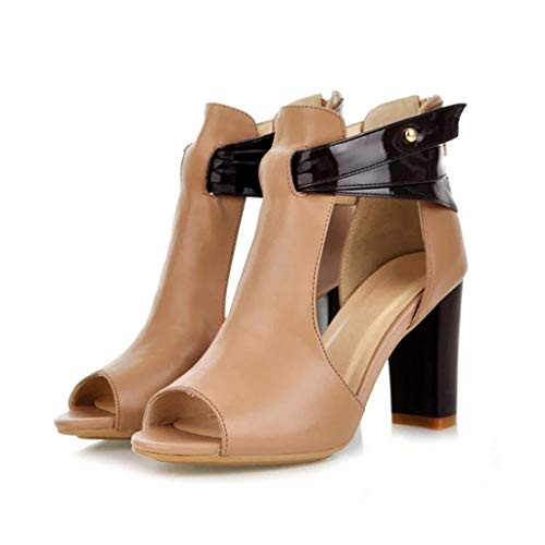 UMore Damen Pumps Offen Stilettos High Heels Chunkyrayan Damen Stiefel Sandaletten Open Toe Stiletto High Heels Sandalen Stiefel Sommer Lederimitat