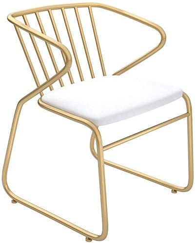 High Stool YZJL Metalen stoel met gouden stoel, leer, gevoerde zitting, hoge kruk, armleuning, rugleuning, gevoerde stoel