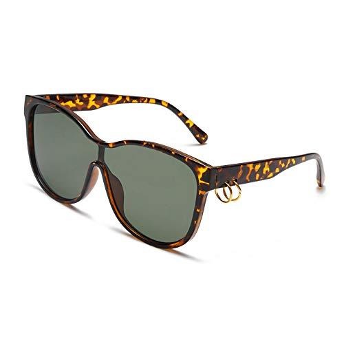 QINGZHOU Occhiali da Sole,Occhiali da sole con montatura grande, anello dell'asta, lenti oceaniche, occhiali da sole, montatura in cagliata di fagioli, lenti verde scuro