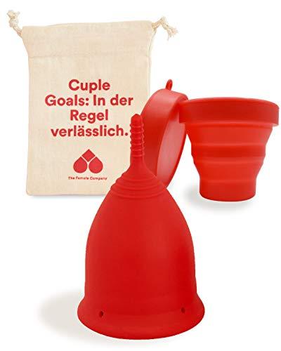 The Female Company© Menstruationstasse Klein (A-Cup) – weich I Menstruationscup aus weichem, 100{091585c269eb7249b999c324bdc48ede4c49f31a3f71a8336adadae393d6aa18} medizinischem Silikon I Made in Germany (mit faltbarem Sterilisator)