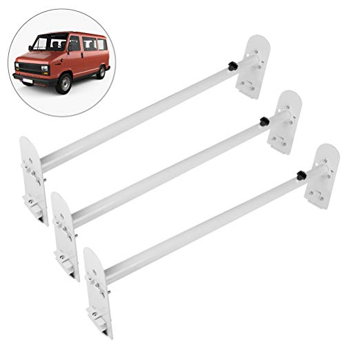 "OCPTY Extendable Pick-Up Truck Ladder Rack Van Roof Mount 78.8"" Steel Ladder Rack for Chevy Express 2500 for Dodge for Ford E-250/350 for GMC Savana with Rain Gutters 3 Bars Set - 800lbs Capacity"