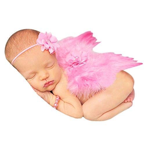 CHIC Bébé Déguisement Costume Prop Photographie Bandeau Cheveux Fleur Aile Ange Princesse 0-6M (Pink)