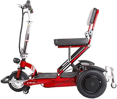 Yuiop Silla de Ruedas eléctrica Plegable para Ancianos discapacitados Triciclo eléctrico Scooter casero Motor sin escobillas Batería de Litio Doble Freno de Disco con luz,Rojo,12AH