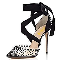 """DAINTY HEIGHT: High-heel measures approx. 12 cm/4.75"""" (varied slightly by size), the best height to show your perfect figure with leg lengthening magic. VERSATILE STYLE: These stylish pumps are characterized by pointed toe, stiletto heels,lace up and..."""