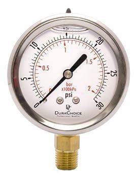 DuraChoice 2-1/2  Oil Filled Pressure Gauge - Stainless Steel Case Brass 1/4  NPT Lower Mount Connection 0-30PSI