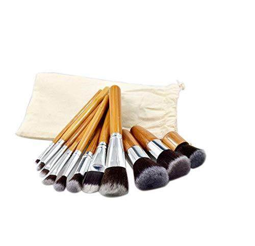 11 pinceaux de maquillage en bambou, pinceaux de maquillage portables, sac en lin-Pinceau de maquillage