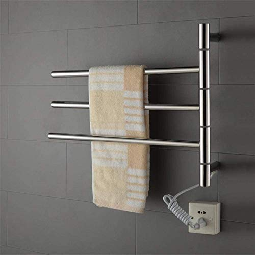 Toallero de toallero eléctrico con calefacción, 3 barras de acero inoxidable montado...
