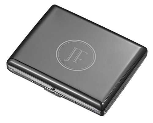 Visol Plated Cigarette Case - Holds 20 100mm Cigarettes with 2 Initial Engraving (Gunmetal)