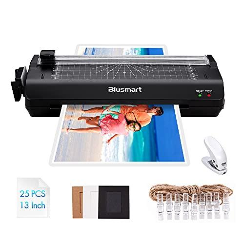 Blusmart A3 6 in 1 Plastificatrici, Funzione Multipla con 25 Sacchetti di Laminazione, Taglia carte, Arrotondatore d' Angolo Laminato per A3, A4, A5, A6