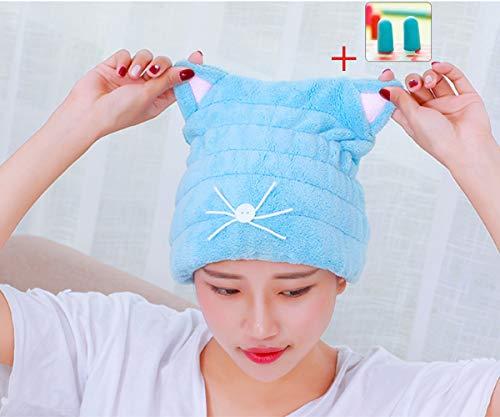 accoco verstellbar Mikrofaser Cute Cartoon Cat Hair Trocknen Cap Ultra weicher saugfähig Hat Hair Wrap Handtuch, reduzieren Haar Trocknungszeit für Frauen Erwachsene oder Kinder Mädchen