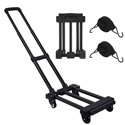 Folding Hand Truck, 220 lbs Heavy Duty 4 Wheels Solid Construction Utility Cart, Compact and Lightweight for Luggage/Personal/Travel/Auto/Moving/Office Use - Portable Fold Up Dolly by Orange Tech