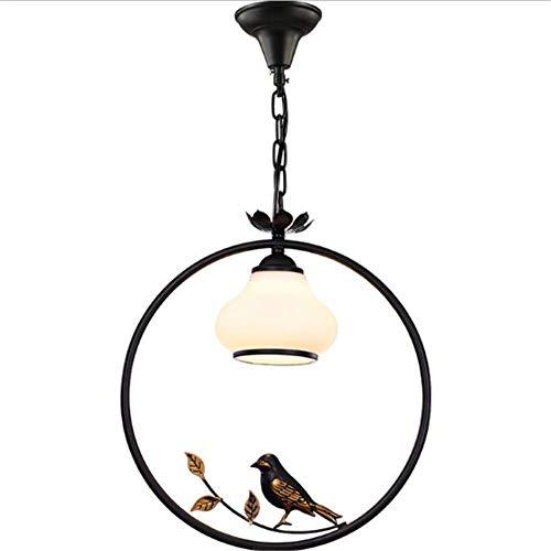 HNWNJ Iluminación colgante Cadena de la decoración del arte retro del estilo de aves Sala de la lámpara redonda Corredor creativo de aves de techo colgante Lámpara con altura ajustable for el dormitor