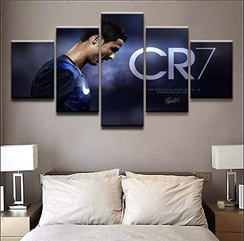 Wandkunst Drucke auf Leinwand Malerei Modular Bilder Modern Wohnzimmer Dekor 5 Stücke Sport Cristiano Ronaldo-Plakatrahmen,B,10×15×2+10×20×2+10×25×1