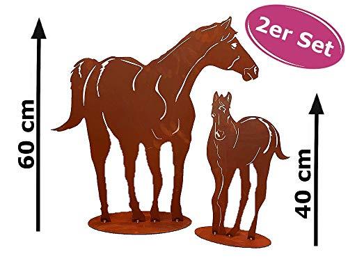 Dekofigur im Rost Design Pferd mit Fohlen, 2er Set - Rostfigur für den Garten, Geschenk für Reiter