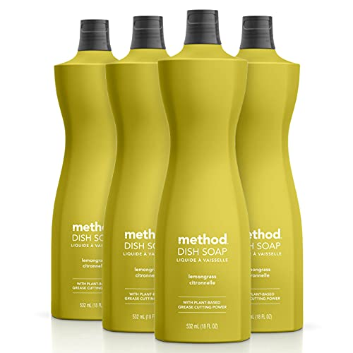 Method Dish Soap, Lemongrass, 18 Ounce, 4 pack, Packaging May Vary
