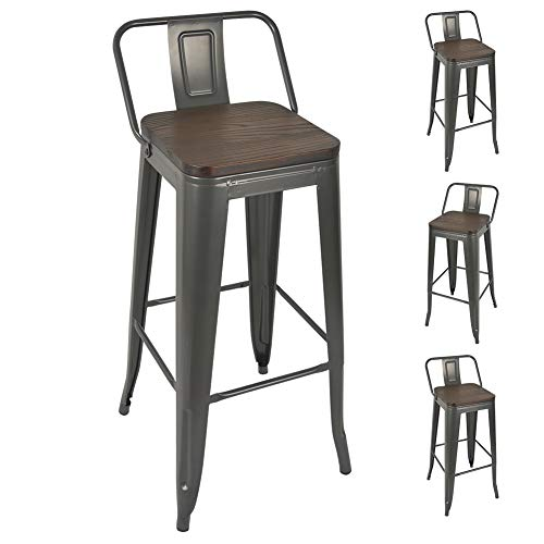 30 Inch Metal Bar Stools Counter Height Stools Set of 4 Gun Metal Grey with Wood Seat/Top Bar Height Stools with Back, Dinning Stools Pub Stools for Bar Home Kitchen Restaurant Bistro Cafe Trattoria