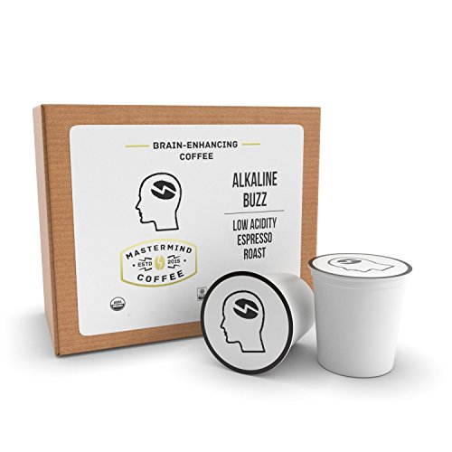 Alkaline Buzz Single Serve Cups - Brain Enhancing Espresso Roast - Organic Low Acidity Coffee - Heightens Mental Acuity, Improves Memory & Focus - Impossibly Delicious!