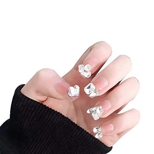 TJJF 24 Set Princesse Brillant Amour Coeur Forme Géométrique Diamant Rose Artificielle Ongles Conseils Avec Colle Mariée Glitter 3D Art Faux Ongles