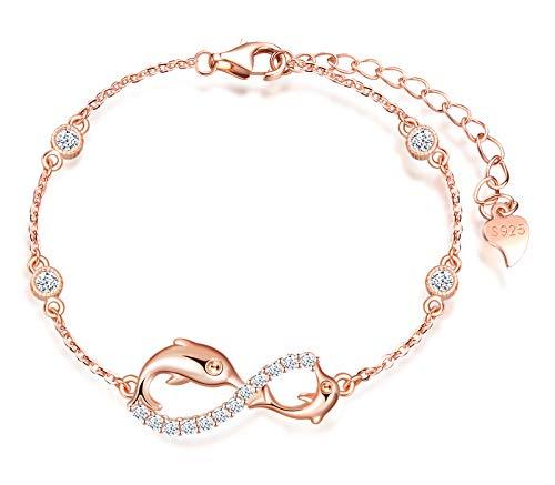 INFINIONLY Pulsera para mujer niña, pulsera de plata de ley 925, pulseras de símbolo de infinito con delfín lindo, decorar diamantes, corazones o estrellas, zirconia, oro rosa, pulsera delfín