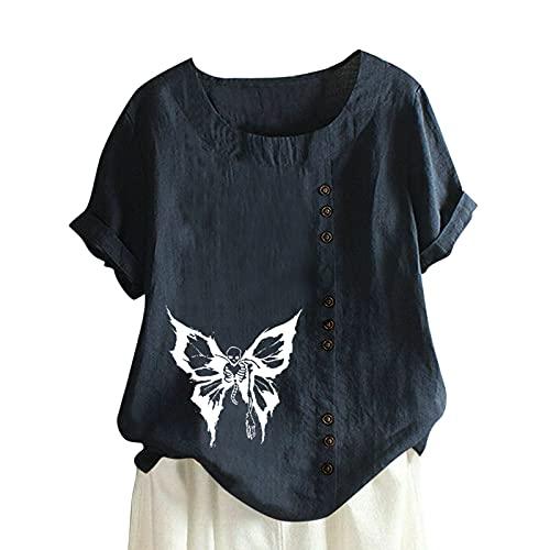 TYTUOO Tops casuales de manga corta para mujer, cuello redondo, para mujer, de algodón y lino, suelto,...
