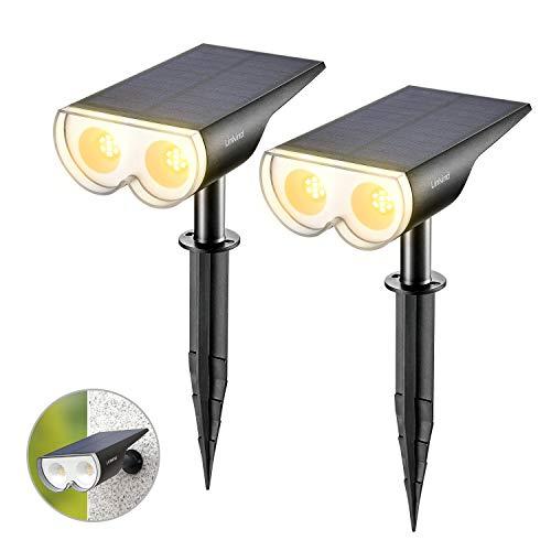 Linkind LED Solarlampen, Dusk to Down Licht-Sensorik Solarleuchte, IP67 Wasserdicht Außenwandleuchte 650lm 3000K Warm Weiß Solarlicht, Wiederaufladbar Strahler 2er Pack