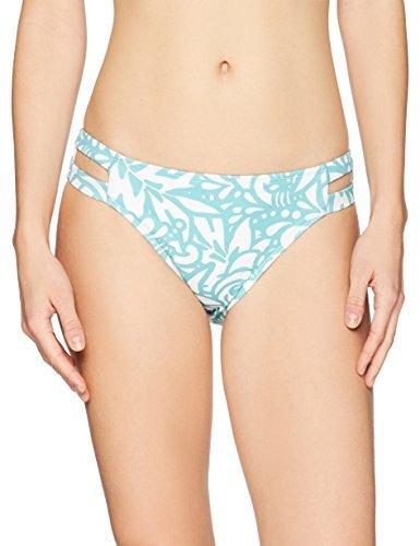 Mae Women's Swimwear Double Strap Hipster Classic Coverage Bikini Bottom, Floral Outline Print, Medium